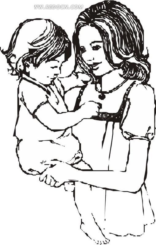 母亲抱小孩的剪影