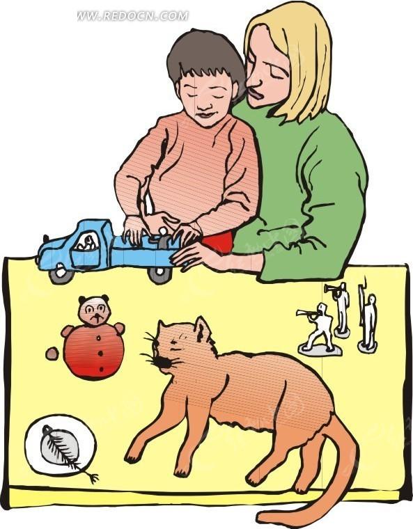 妈妈陪儿子玩玩具插画