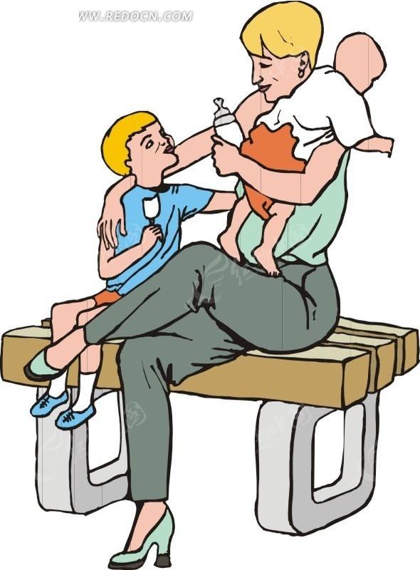 爸爸带小孩插画