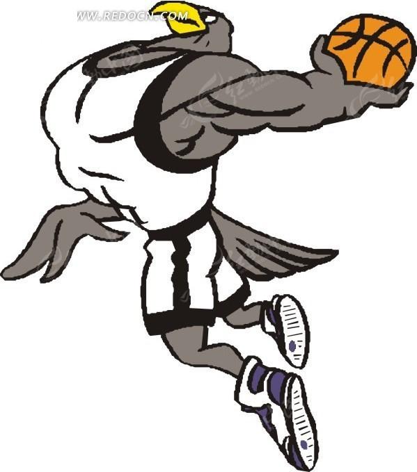 手绘打篮球的老鹰