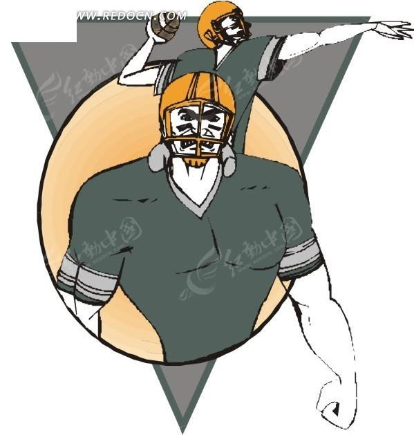 手绘橄榄球运动员