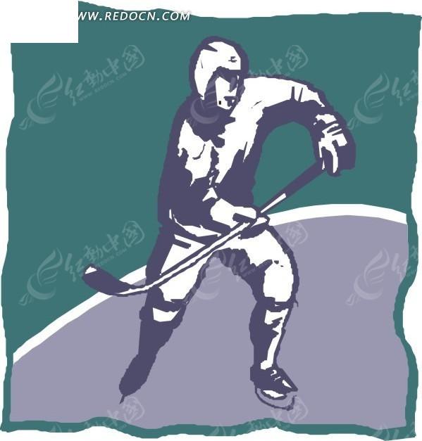 手绘冰球运动员矢量图_体育运动