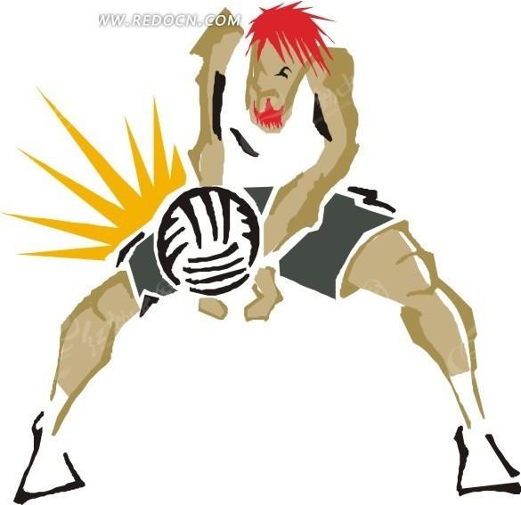 排球和卡通人物 矢量素材下载 1576831