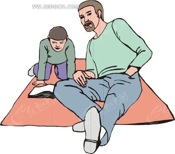 毯子上看书的小孩和爸爸
