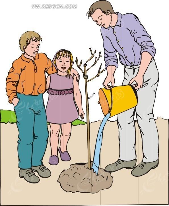 带小孩植树的爸爸