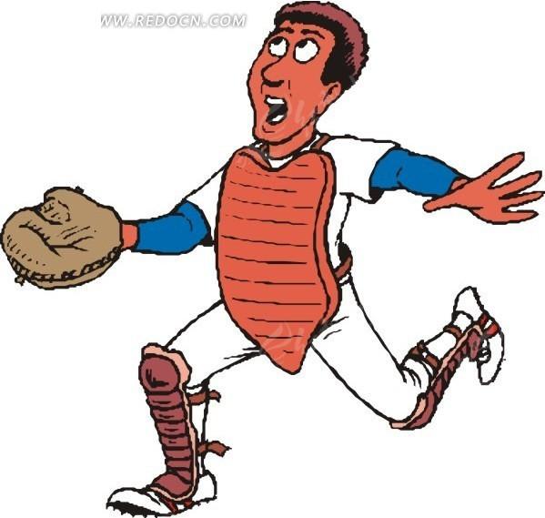 戴棒球手套的卡通人物
