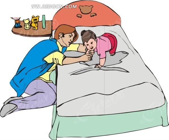 手绘和床上的孩子玩耍的男人