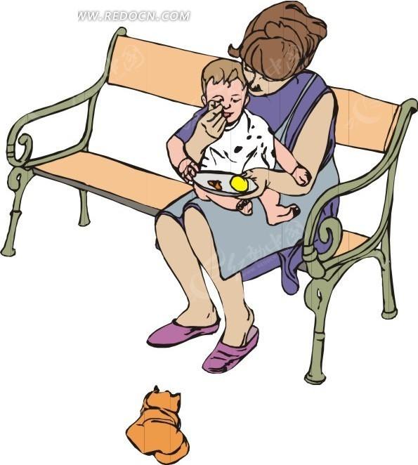 长椅上的妈妈抱着孩子