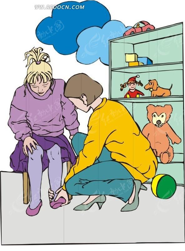 幼儿穿鞋子卡通图片