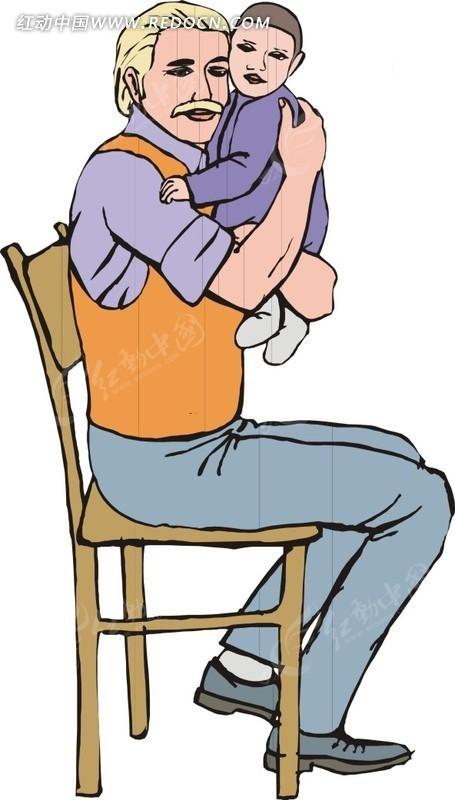 手绘抱着孩子坐着的老人eps免费下载_日常生活素材