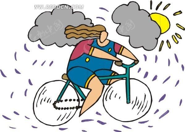 手绘骑自行车