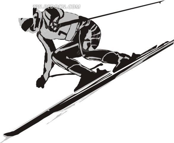 滑雪的卡通人物