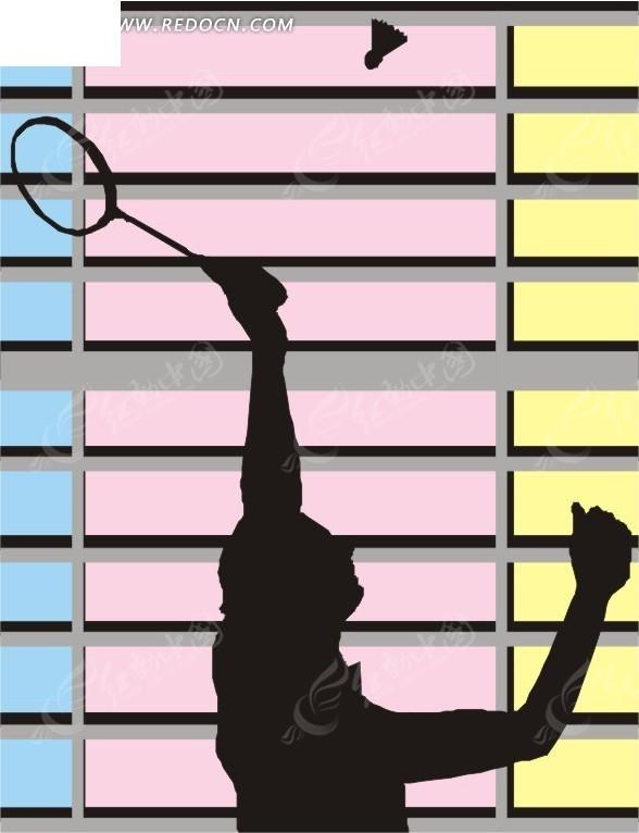 打羽毛球的人物剪影矢量图_体育运动