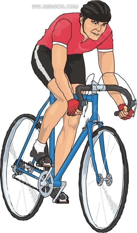 手绘自行车赛车手矢量素材