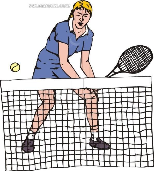 正在打网球的美女矢量图_体育运动