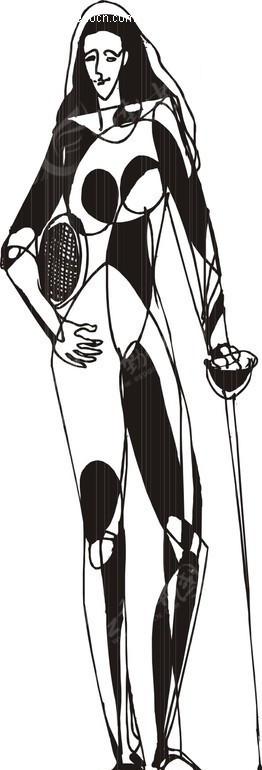 剑 击剑运动员 卡通画 插画 手绘 矢量素材  生活百科