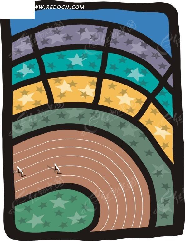 卡通跑步跑道手绘矢量图