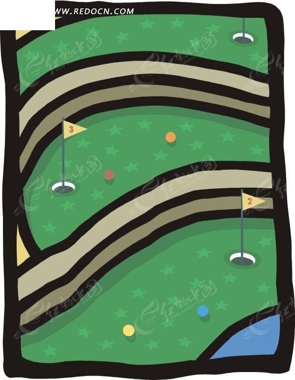 手绘闪星高尔夫球场