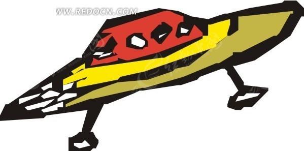 手绘红色顶部的飞碟图片