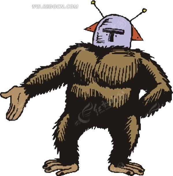 猿猴外星矢量图_科学研究