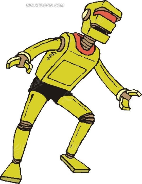 手绘侧身的黄色机器人矢量图 科学研究