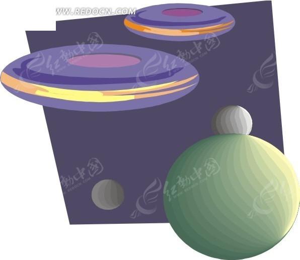 手绘星球和飞碟