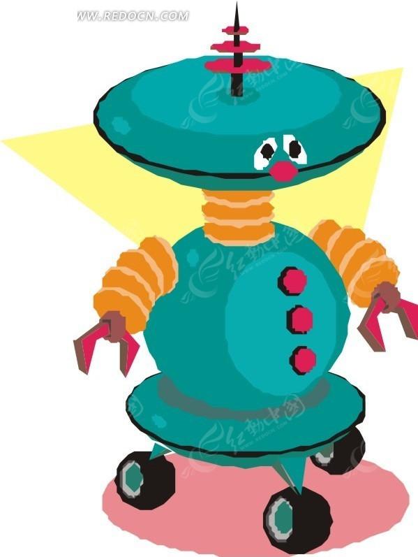 绘飞碟状头部的机器人矢量图 科学研究