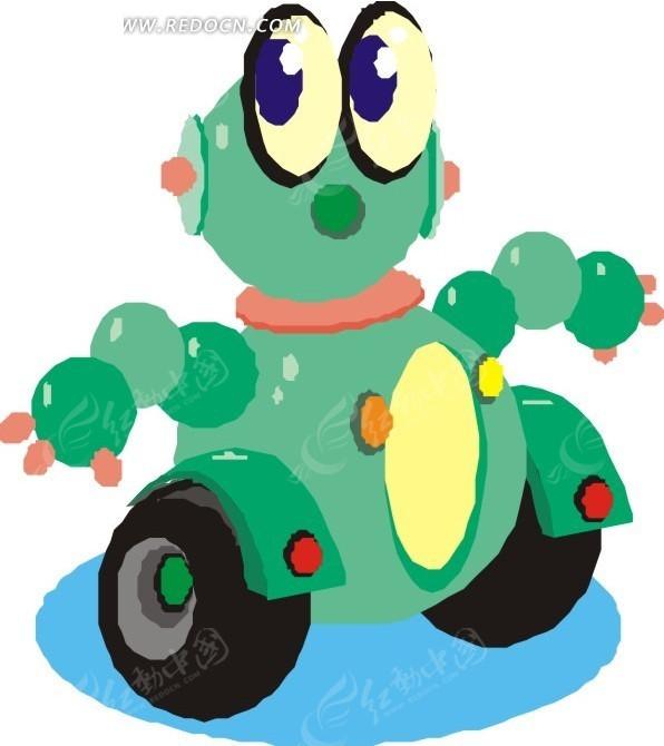 手绘两个轮子的绿色机器人