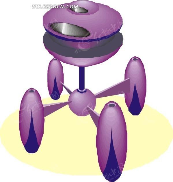 手绘紫色外星人飞船矢量图