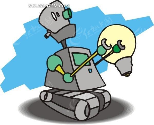 机器人 蓝色背景  电灯泡 卡通画 插画 手绘 矢量素材 科学研究 科技