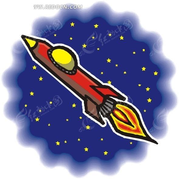 宇宙 星空 火箭 卡通画 插画 手绘 矢量素材 科学研究 科技图片
