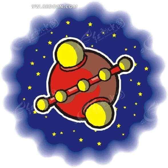 宇宙 球形飞船 宇宙飞船 卡通画 插画 手绘 矢量素材 科学研究 科技
