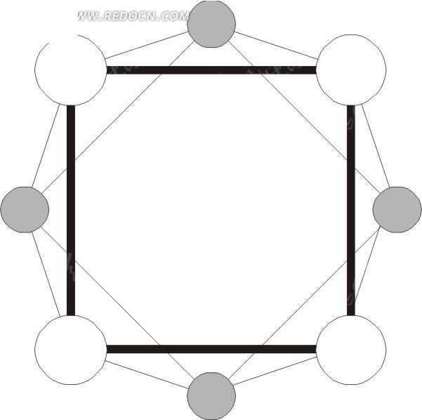 黑白灰三色化学分子结构矢量图图片