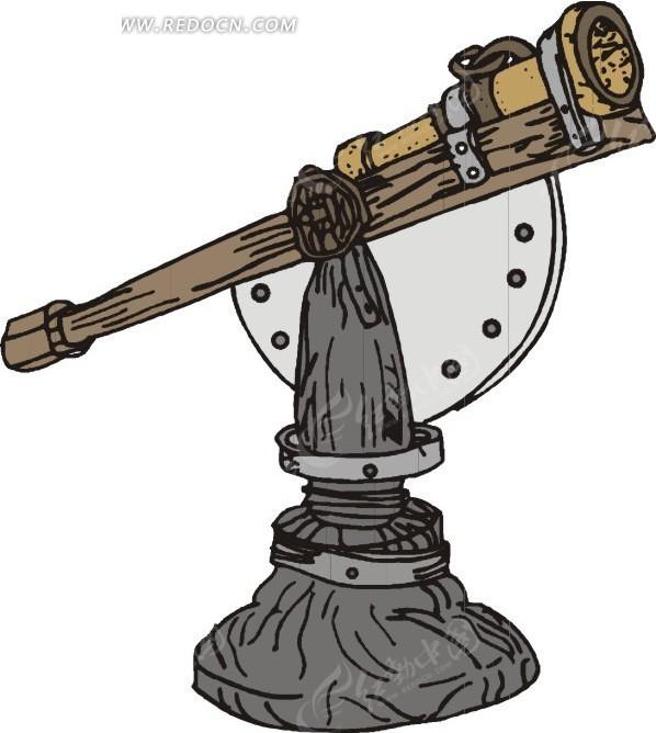 手绘古典天文望远镜