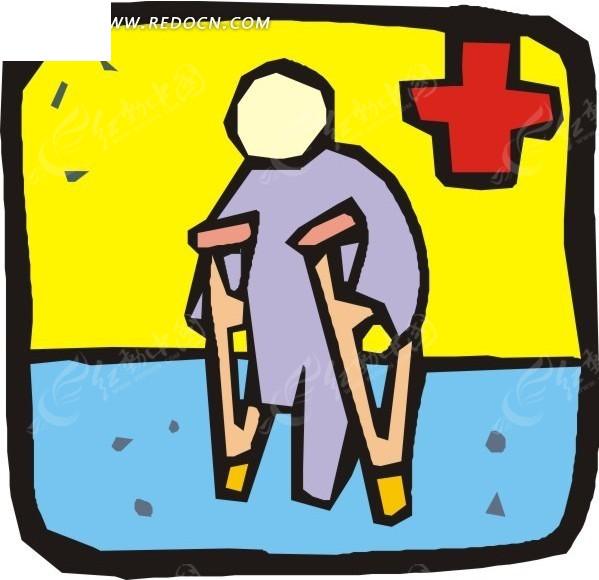 手绘 拄拐杖的病人 eps素材 矢量 矢量素材 插画 卡通 科学研究 科技