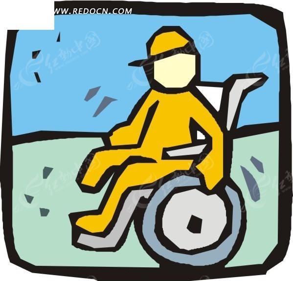 线描手绘轮椅上的病人