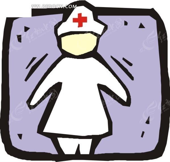线描手绘护士矢量图_科学研究