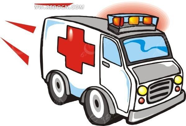 手绘白色救护车