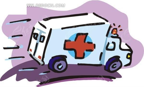 手绘飞驰的救护车矢量图