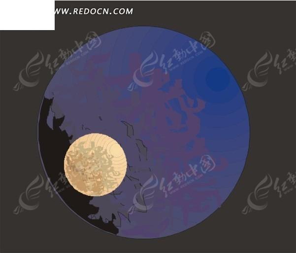 月亮 地球 eps素材 矢量 矢量素材 插画 卡通 科学研究 科技图片
