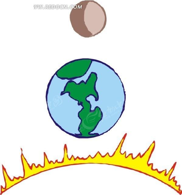 免费素材 矢量素材 现代科技 科学研究 月亮太阳地球