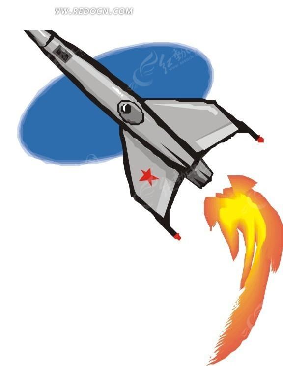 手绘火箭升空