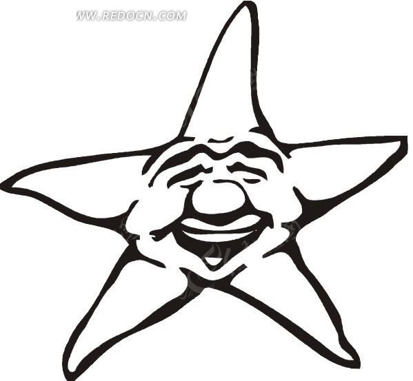 五星红旗简笔画-一个黑色笑脸五角星矢量图高清图片