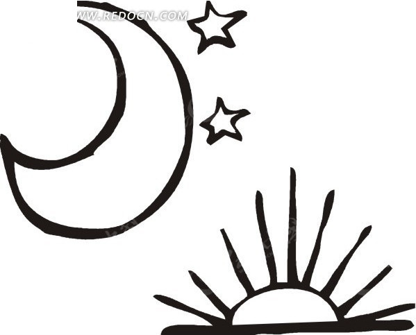 黑色太阳月亮星星图片
