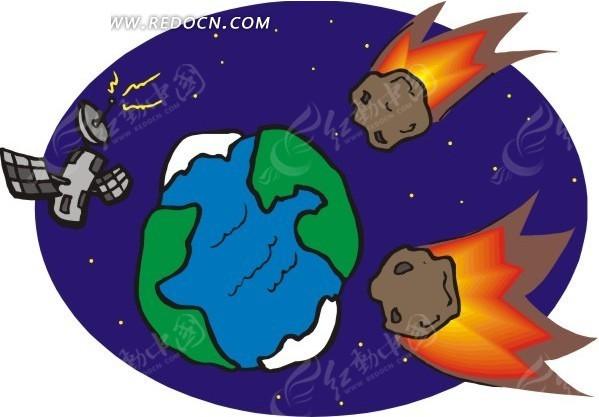 宇宙里的地球卫星矢量图_科学研究