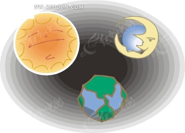 宇宙里的太阳月亮地球