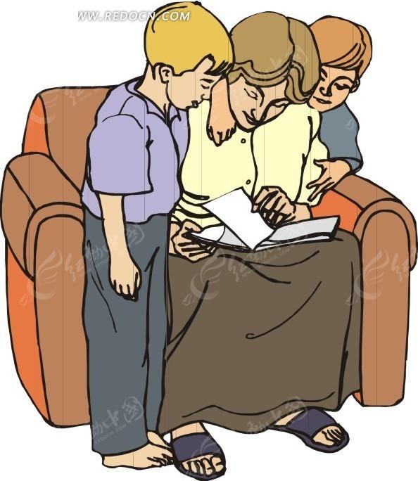 手绘坐在沙发上教导小孩的妈妈