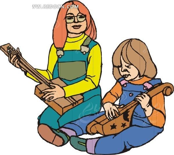 弹吉他的小朋友矢量图_日常生活