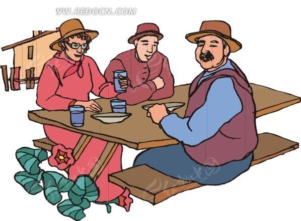 下午喝茶的农民图片