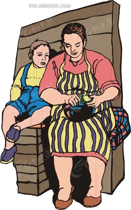 坐着的妈妈和小孩